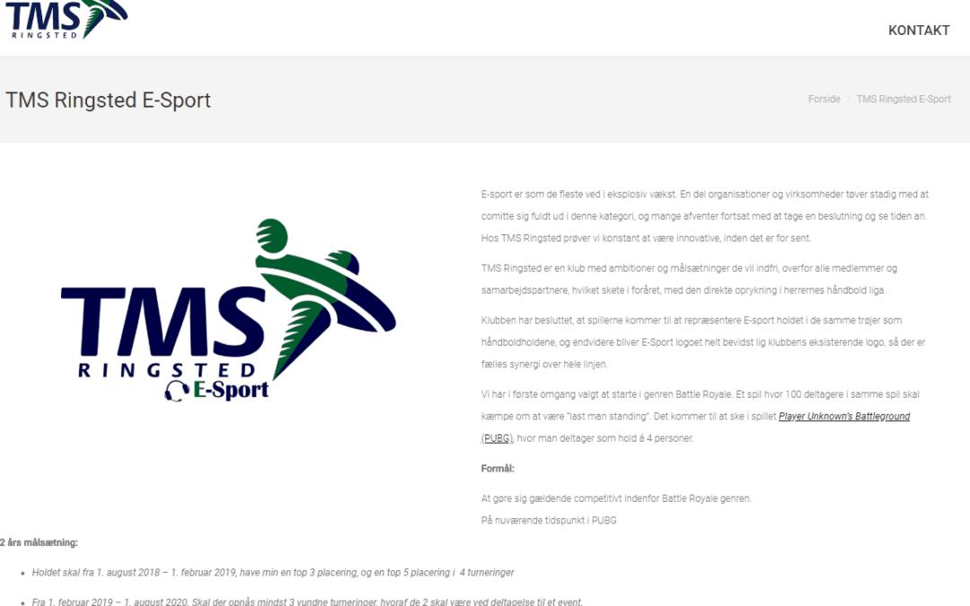 E-Sporten er nu at finde på hjemmesiden